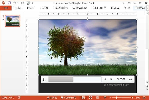 Meadow tree video background for PowerPoint