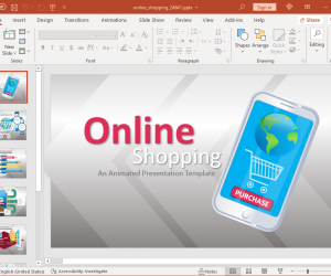 Mobile online shopping powerpoint template