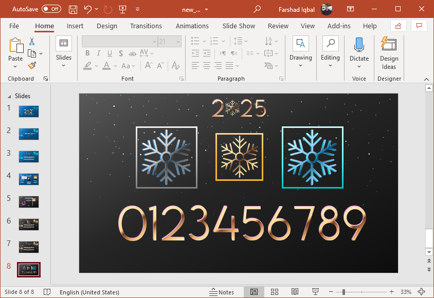 New year black slide design with numbers clipart