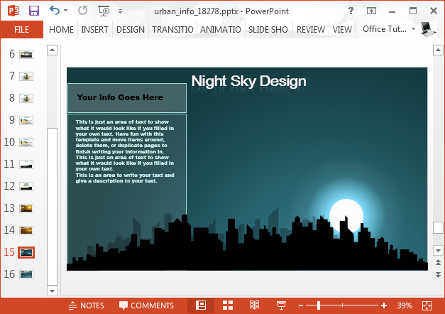 Night city sky PowerPoint background