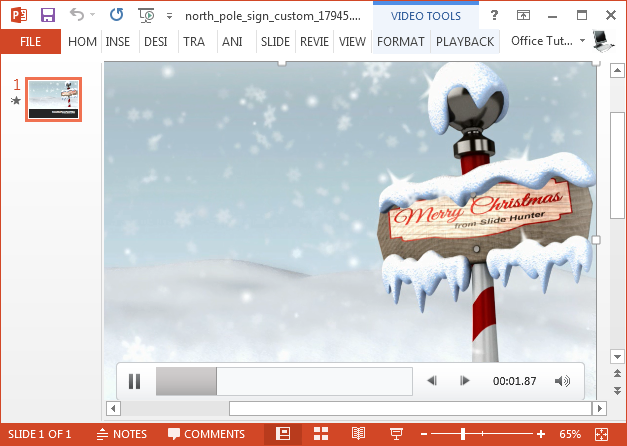 North pole video animation for PowerPoint