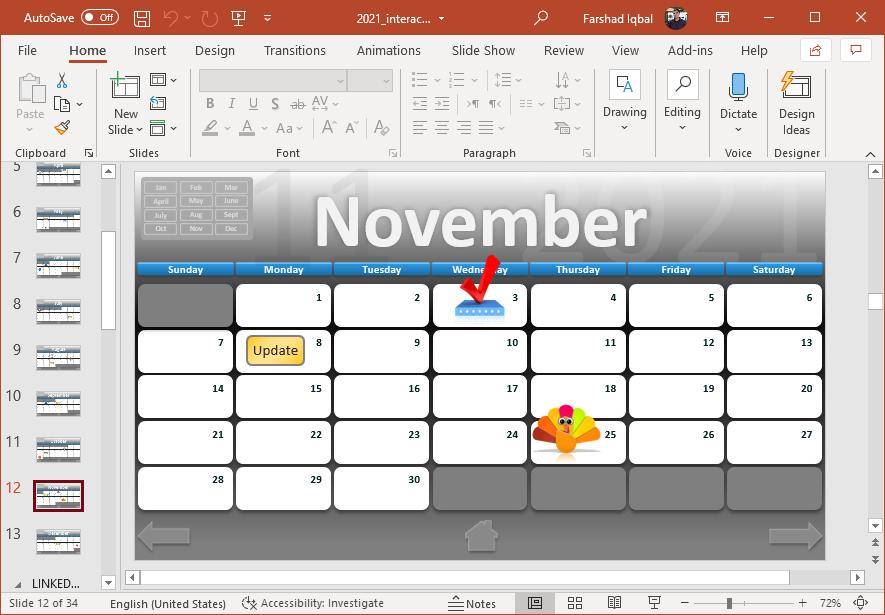 November calendar in PowerPoint