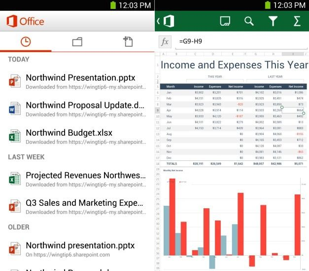 Office Mobile Interface