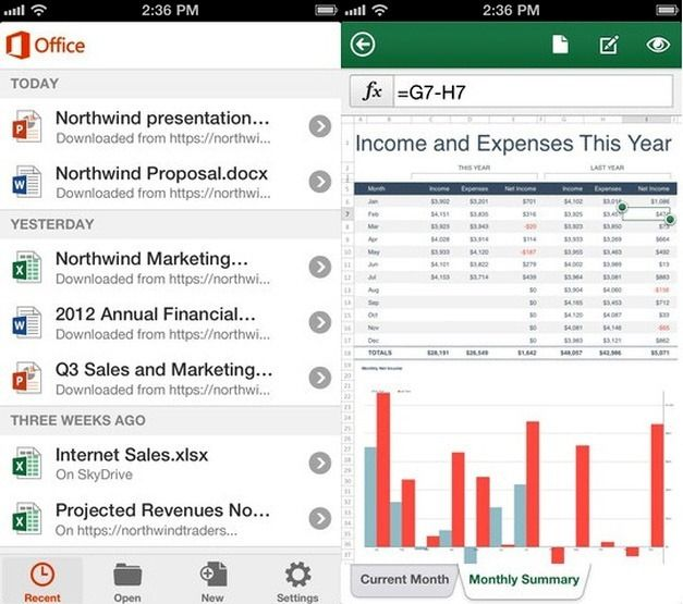 Office Mobile MS Excel Features