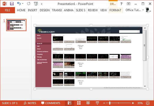 Office app running in PowerPoint