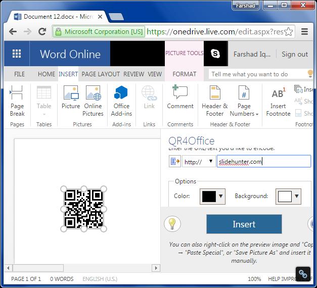 Office app running in Word Online