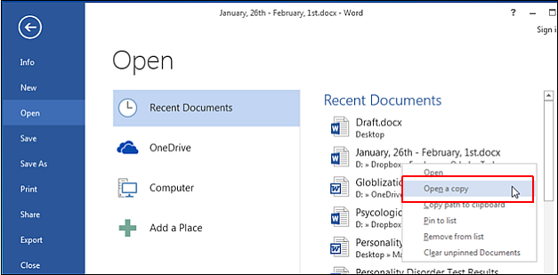 Open a copy of document in Microsoft Word 2013