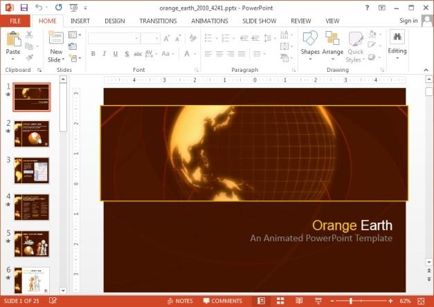 Orange Earth PowerPoint template