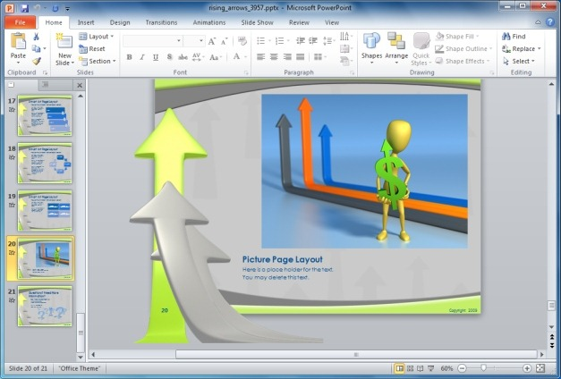 Page layouts for PowerPoint presentations
