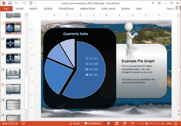 Pie chart slide with globe