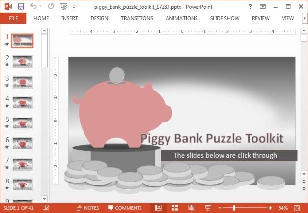 Piggy bank financial template for PowerPoint