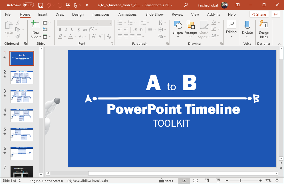 Point A to B timeline for PowerPoint