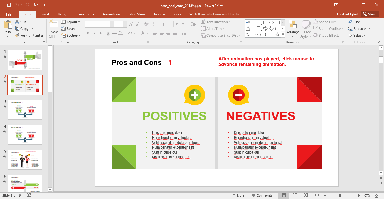 Positives and Negatives of a Topic