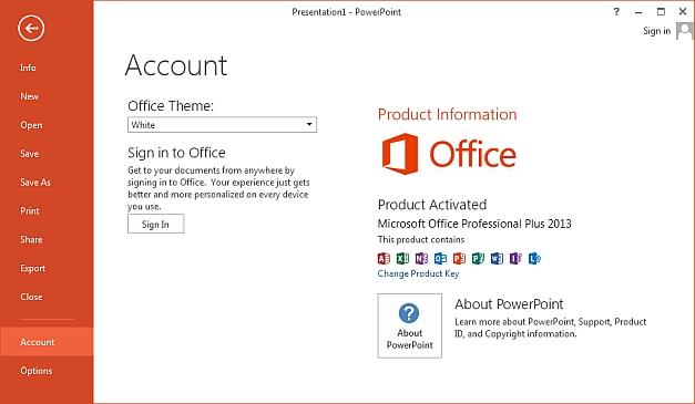 PowerPoint 2013 account management