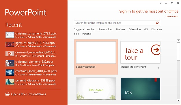 PowerPoint 2013 landing page