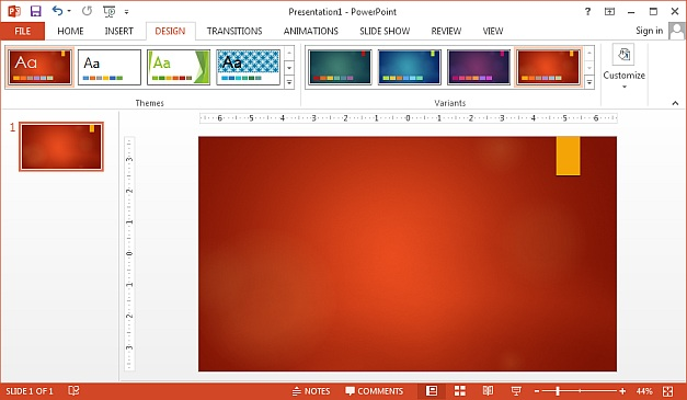 PowerPoint 2013 theme colors