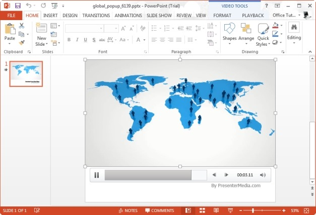 PowerPoint Template With Flat World Map Animation