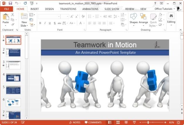 Presenter Media - Teamwork In Motion PowerPoint Template
