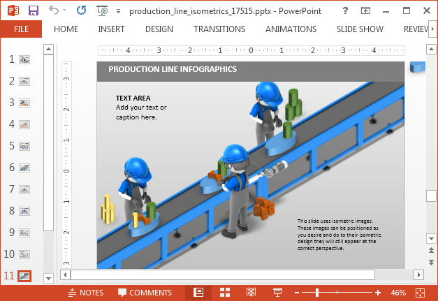 Production line infographic slide design for PowerPoint