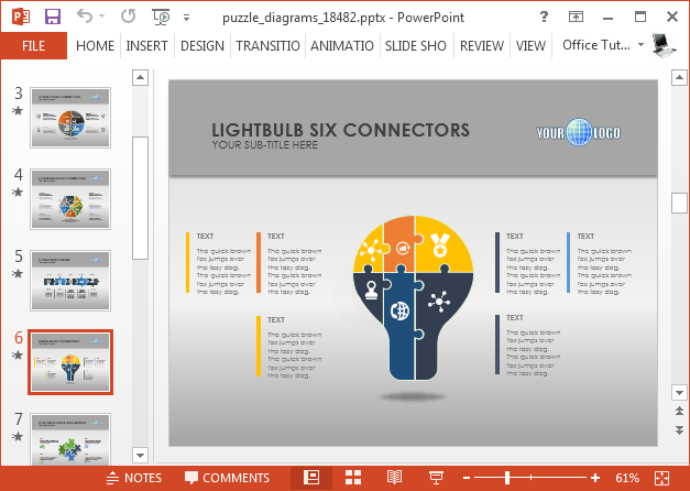Puzzle diagrams template for PowerPoint