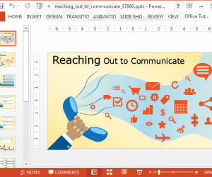 Buzz slide with reaching out to communicate text and phone icons