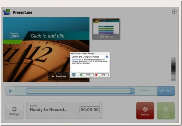 Record presentations with audio and video
