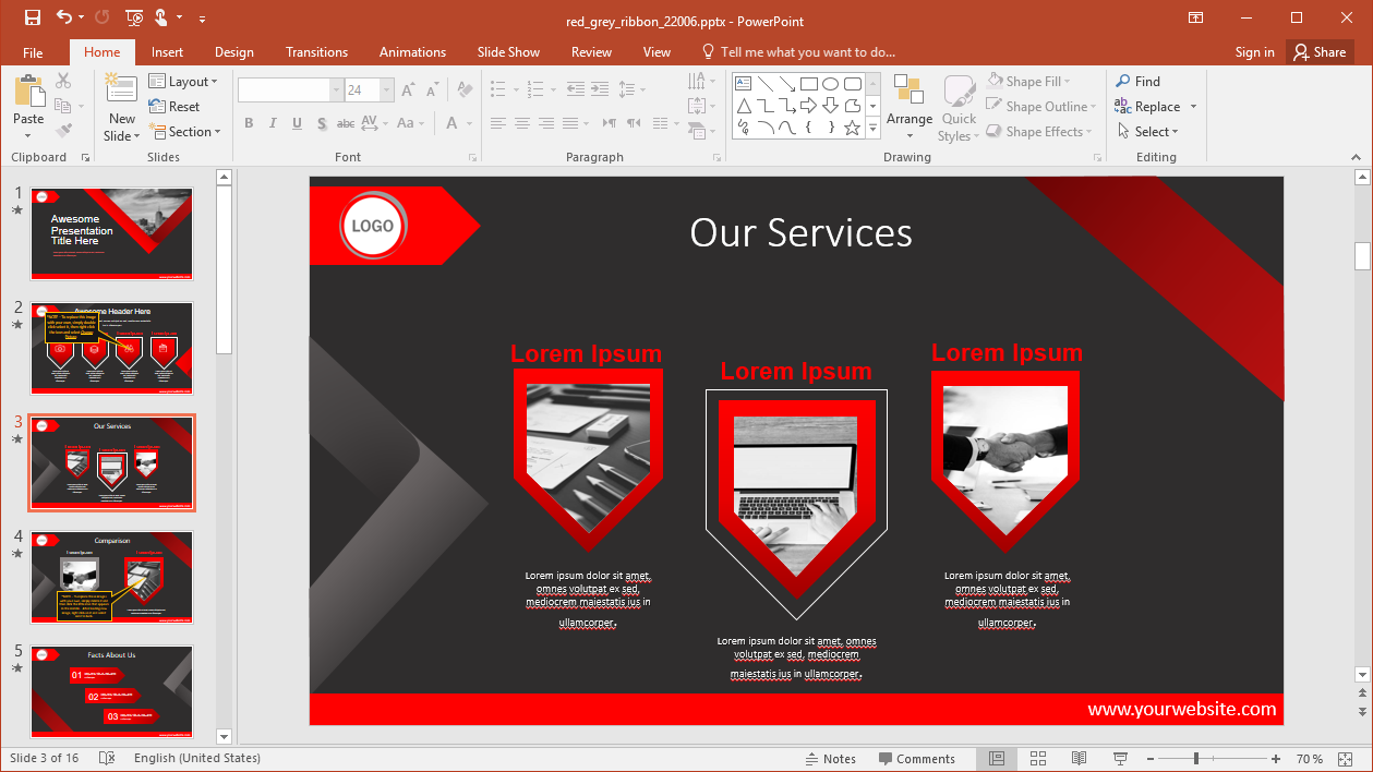 Red and Grey PowerPoint Template
