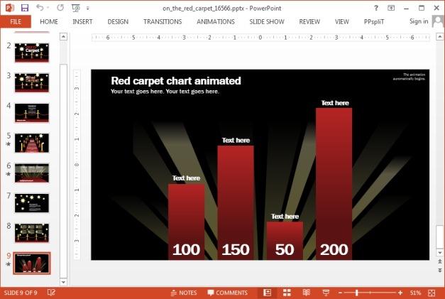 Red carpet template chart slide