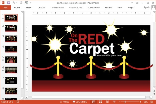 Red carpet template for PowerPoint