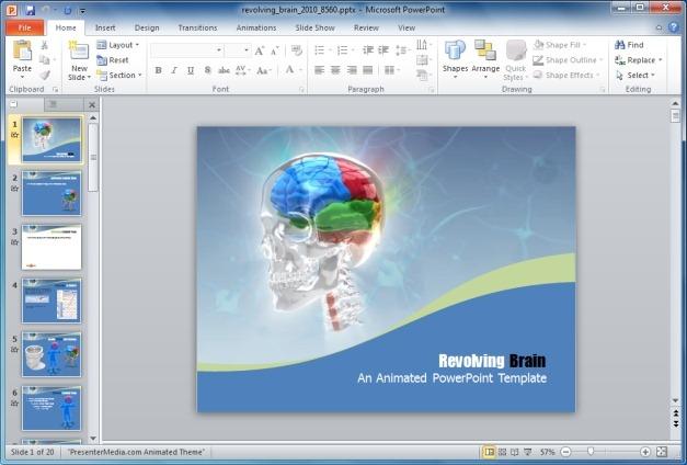 Revolving Brain PowerPoint Template