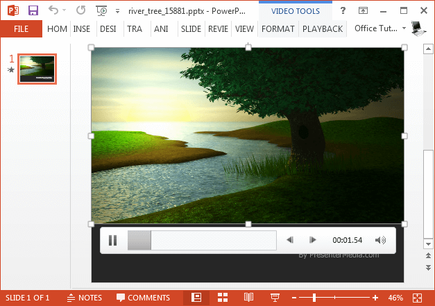 River tree video background for PowerPoint
