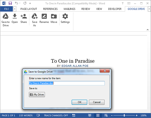 Save MS Office files to Google Drive