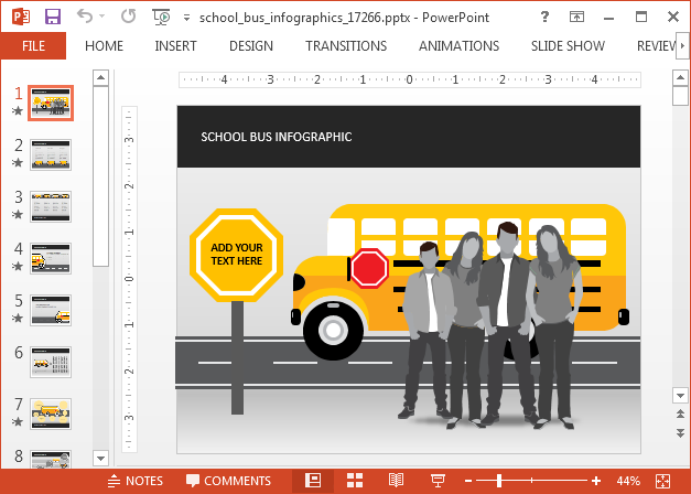 School bus infographic for PowerPoint