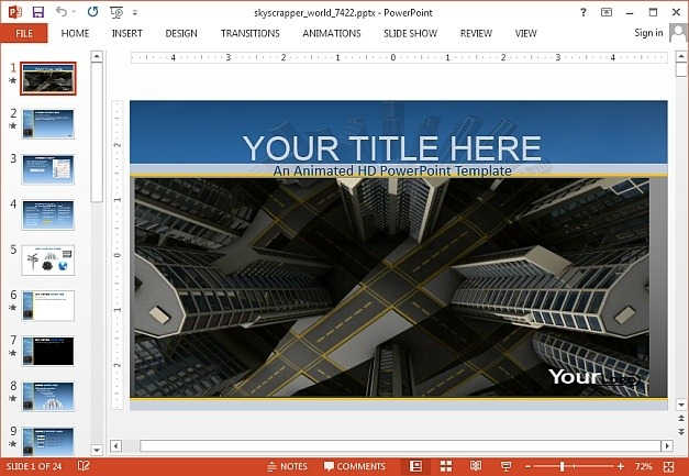 Scraper city template for PowerPoint presentations