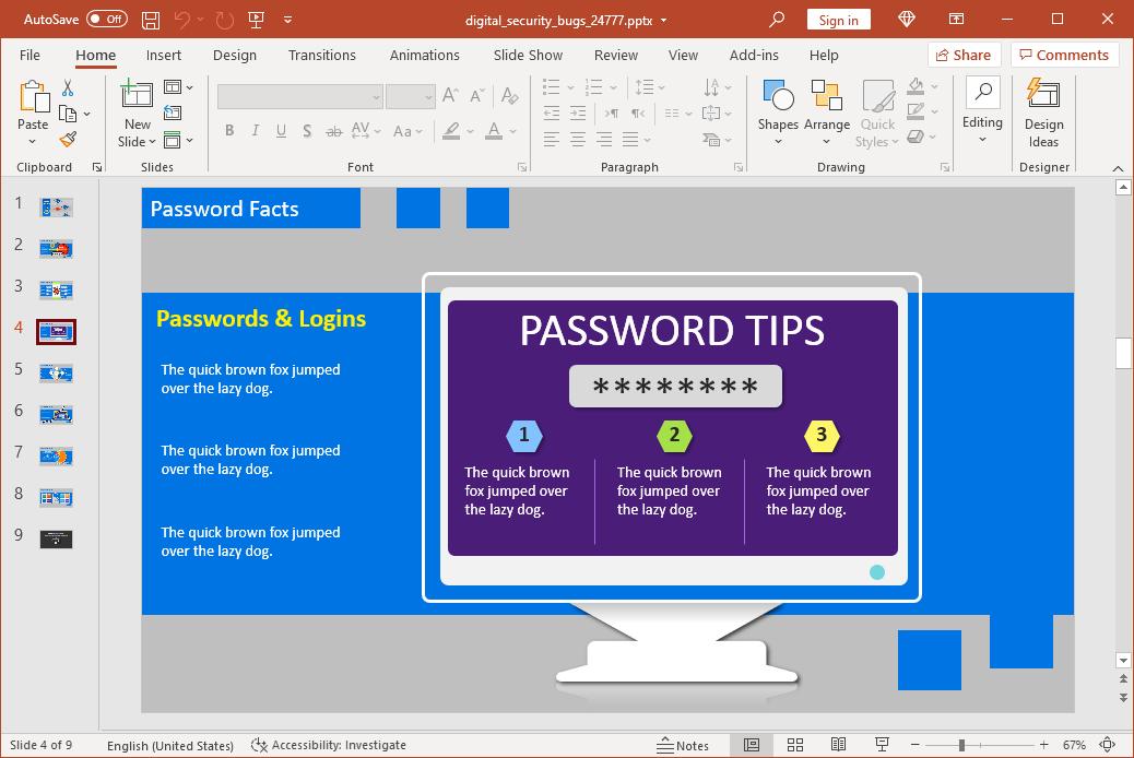 Secure password tips slide