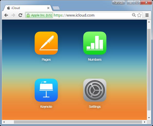 Select Keynote via iCloud