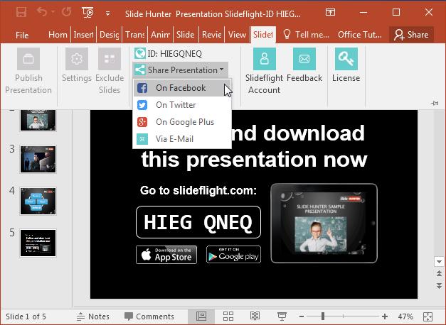Sharing link for presentation slides on social media