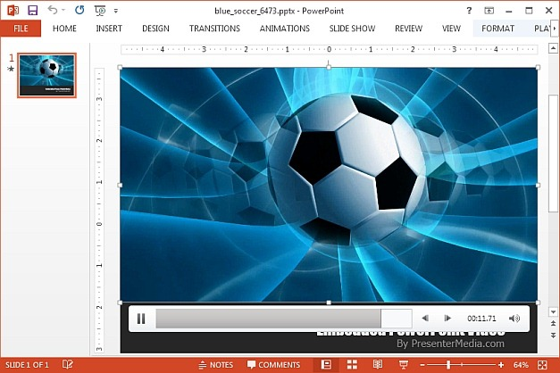 Soccer video animation template for PowerPoint