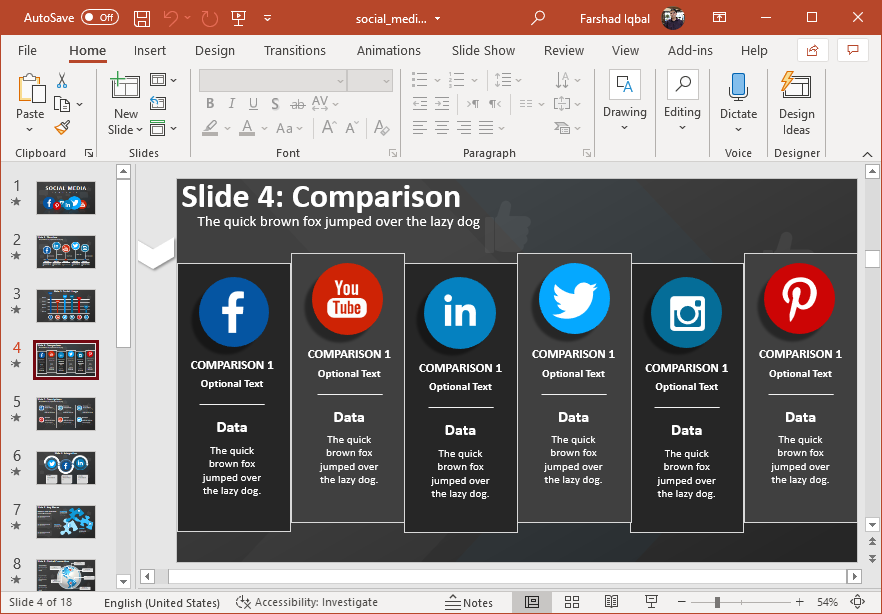 Social media comparison slide
