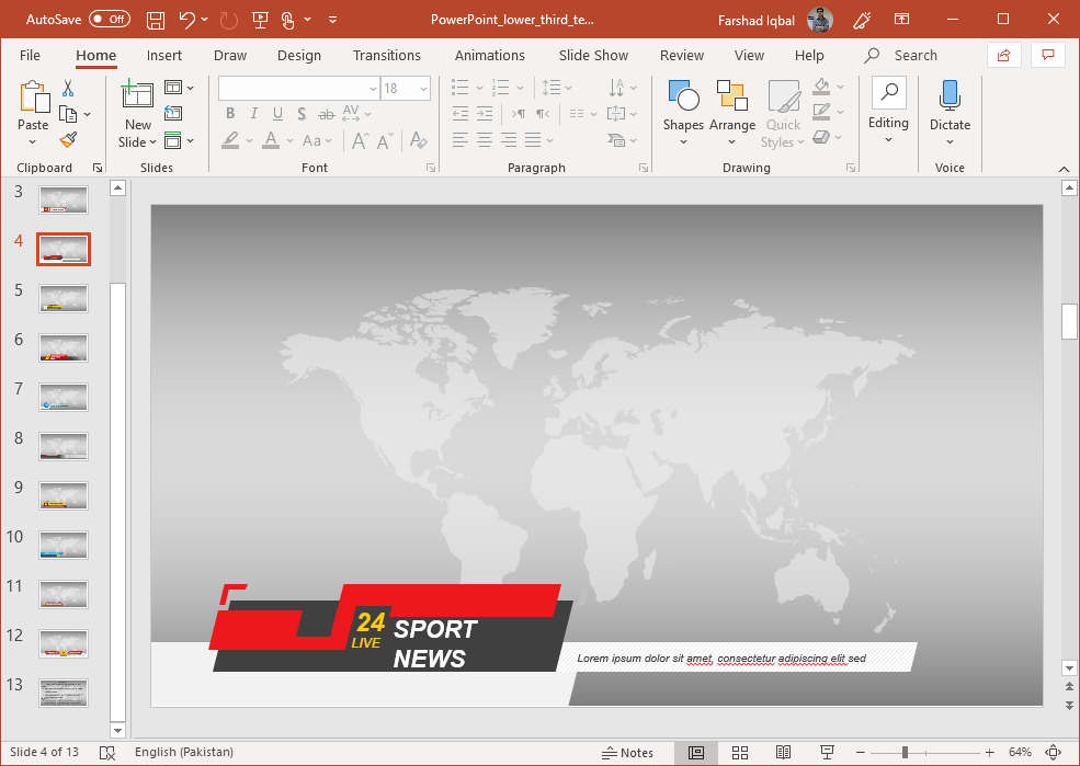 Sports Channel Slide Design