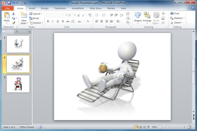 Stick Figure Relaxing in Beach Chair