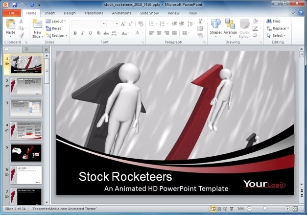 Stock Rocketeers PowerPoint Template