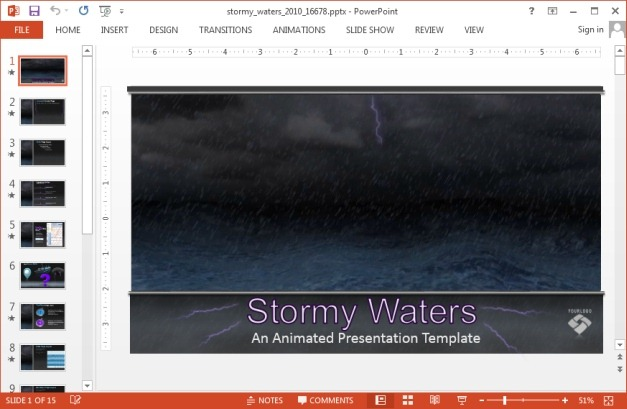 Stormy waters animated template for PowerPoint