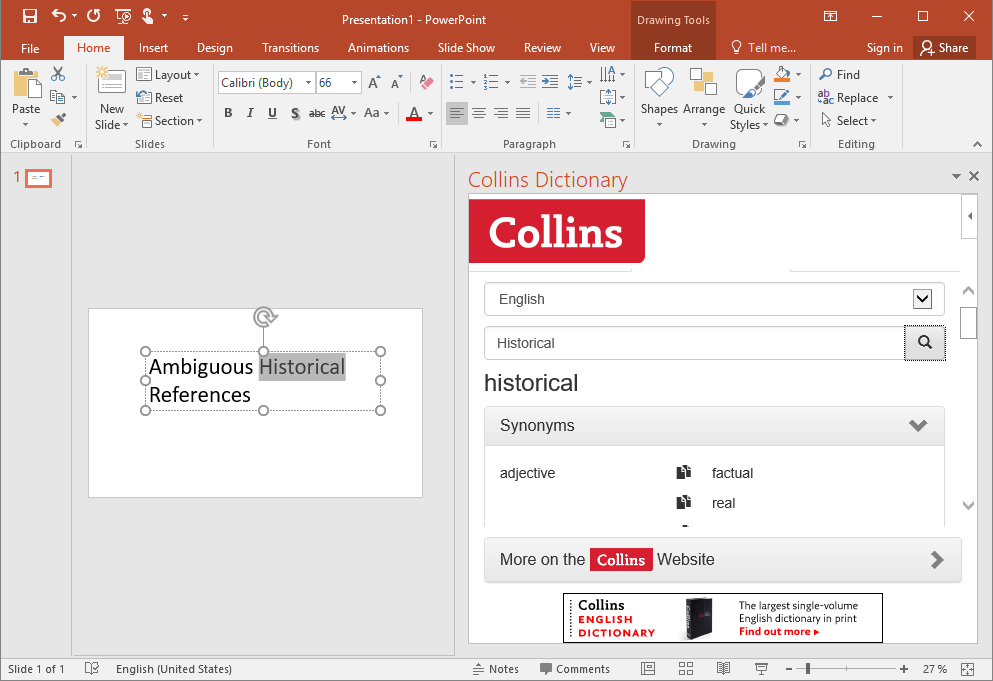Synonyms in PowerPoint