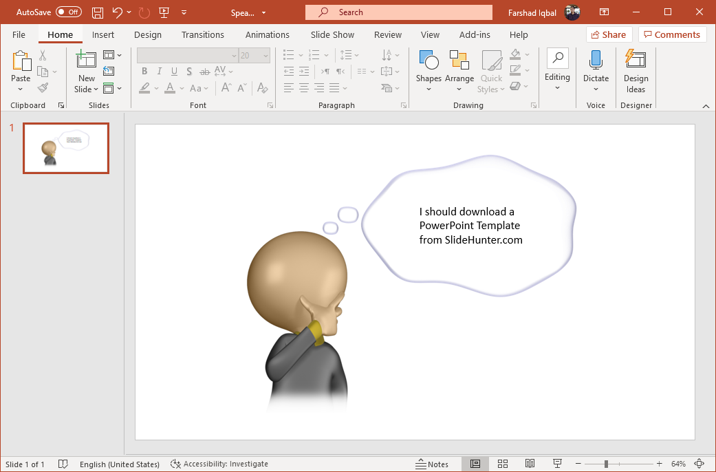 Thought bubble PowerPoint clipart