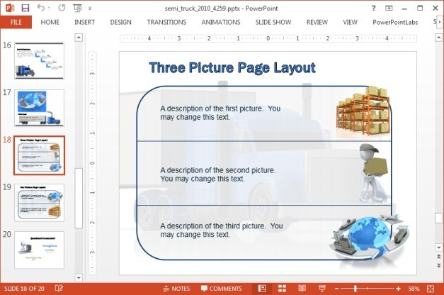 Three picture layout with cargo themed images