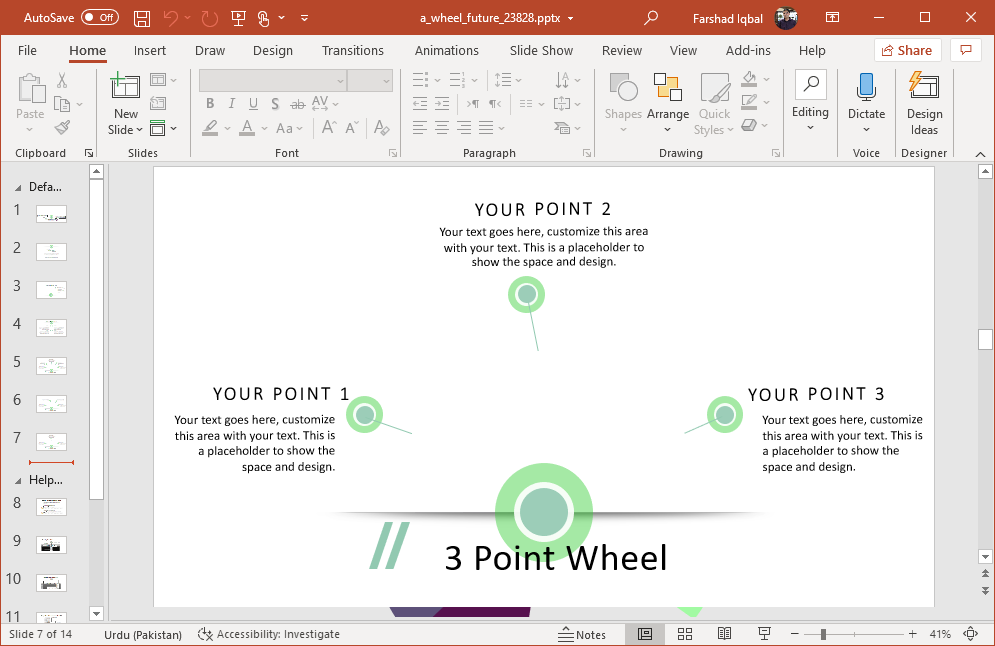 Three point wheel chart design