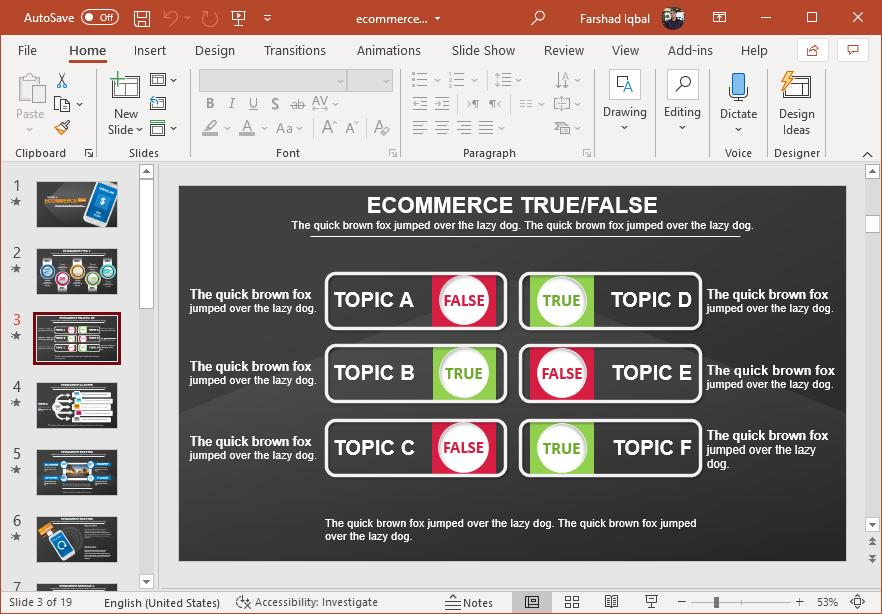 True or false slide design for PowerPoint