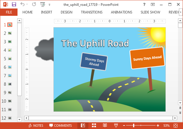 Uphill road animated PowerPoint template