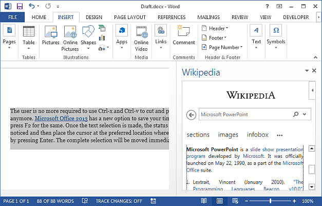 Use Wikipedia from MS Word